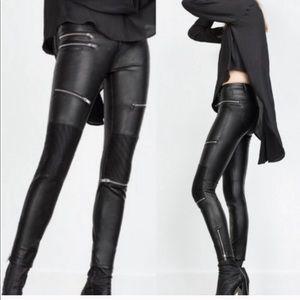 Zara Faux Leather Zip Moto Leggings Pants
